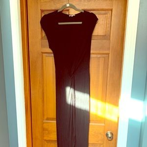 Black v neck short sleeve maxi dress